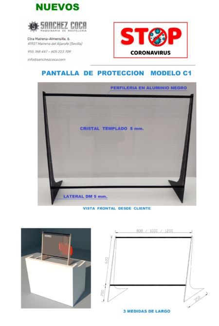 😷MAMPARAS protectoras CORONAVIRUS COVID19 modelo C1-100